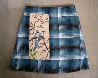 Checkered skirt with Blue Jays embroidery, upcycled, A-line skirt, fully lined, cotton poly mix, teal black white, size Medium