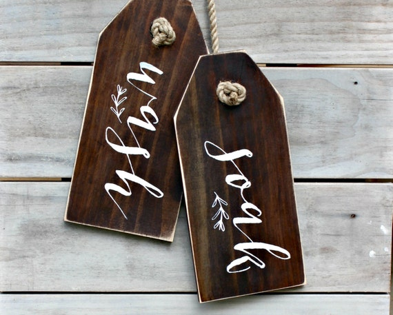 Set Of 2 Wash Soak Bathroom Signs Rustic Wood Sign