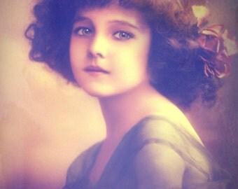 Vintage image altered art,Charming Girl,Image Instant Download.