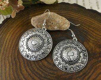 Ethnic Tribal Hmong Miao Silver Flower Filigree Flower Drop Dangle Earrings