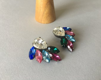 RHINESTONE CLIP EARRINGS, beautiful chic earrings, vintage style, gift for her, for girlfriend, for mom, bright earrings, hypoallergenic