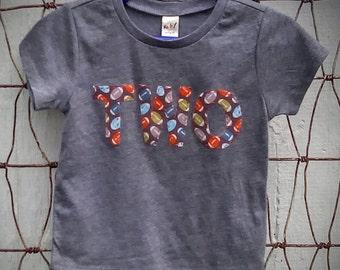 Football Theme Two Birthday Shirt Shirt Second Sports Theme Boy Birthday Shirt Gray Short Sleeved 24 Month Ready to Ship