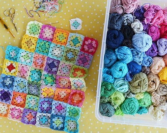 The Bloom Blanket Kit, 54 GrannyKit cotton balls as crocheted in my Bloom Blanket, ready to ship by CrochetObjet