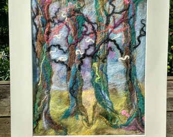 Tree Textile Art Family Tree Wet Felted Handmade Original Textile Art made in UK