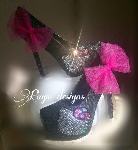 Sparkly pink heels with bow