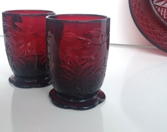 Vintage Ruby Red Glass votive candle holder holiday red 1 votive available