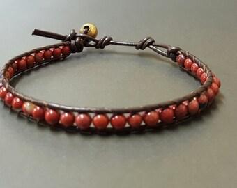 Red Jasper  Brown Leather Bracelet