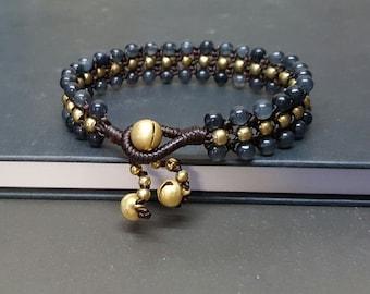 Triple Smokey  Brass  Bracelet
