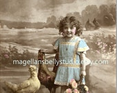 Easter Digital Download 1910's French RPPC Beautiful  Girl With Chicks Chicken Rooster Basket Flowers Floral Blue Dress