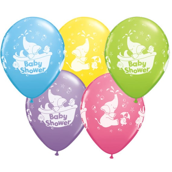 elephant print baby shower balloons neutral gender new mum to be