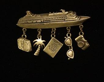 Vintage JJ Cruise Ship brooch