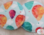 Hot Air Balloons Nursing Pads - Bamboo - Waterproof Nursing Pads - 1 Set - Reusable Nursing Pads - Made to Order