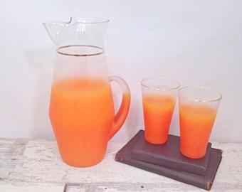 SPOOKY SALE Vintage Orange Ombre Pitcher and Glasses - Blendo