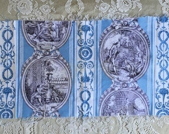 Piece of vintage French printed fabric Marignan classical antique Louis XVI design toile de Jouy w vignette the 5 senses