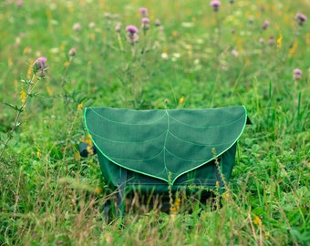Dark Green Leaf Bike Messenger Bag / Waterproof Bag / Cycling Backpack / Lightweight Bag / Bike Bag / Bicycle Bag / Backpack / Messenger Bag
