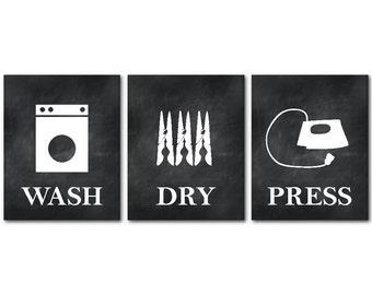 Laundry Room Wall Art - Wash Dry Press - Room Decor - Set of three prints - Laundry Room Wall decor - Laundry Trio - gift for mom