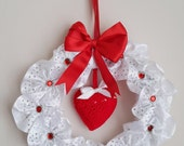 Wedding Bow Wreath,  Decor Wreath, Holiday Decor, Holiday Wreath, door wall decor, door hanging, wall hanging,  indoor wall hanging