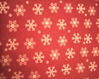 Red with White Snow Flakes Fabric