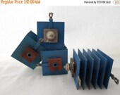 ON SALE Electronic, Transistor, Television, TV, Destash, Supplies, Blue, Finn, Set of 4, Assemblage, Robot, Steampunk, Sculpture, Parts, Vin