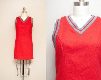 Vintage Varsity Stripe Wool Mini Dress / Cherry Red Abercrombie School Girl Jumper / X-small