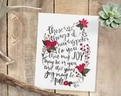 Joy // John 15 // Original Art Print // Scripture Bible Verse Floral Flower Painting Handlettered Home Decor Bedroom // 5 x 7 // 8 x 10