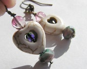 White Howlite Hearts with Blue & Green Czech Glass, Multicolored Crystal Beads, and Pink Glass Dangle Earrings