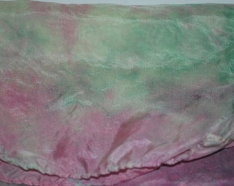 Pink and Green Tie-dyed Silk Scarf