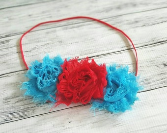 Girls Teal and Red Flower Headband Dr Seuss Headband