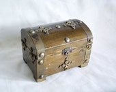 Old pirate treasure chest, wood, BRASS metal ORNAMENTS, Vintage handmade wooden box, Hinged KEEPSAKE, Rustic, natural, Pirate home decor