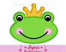 Instant Download Frog Prince With Crown Applique Machine Embroidery Design NO:2162