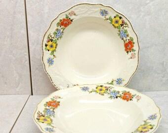 Vintage Bowls Adam Antique Rimmed Soup Ivory Earthenware Floral Decorated Set Of 2 Stubenville China