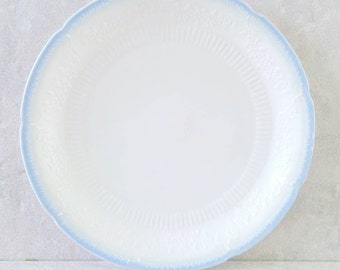 Fire King Dinner Plate Ivory and Blue Alice Pattern Fired On Color Vitrock Embossed Flowers Glass Dish Anchor Hocking Depression 1945