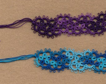 set of 2 tatted lace book markers