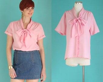 Vintage 70s Secretary Blouse - Pastel Pink Bow Blouse - Short Sleeve Tie Neck Blouse - Ascot Blouse - Girly Spring Shirts - Size Large
