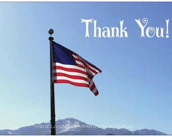 American Flag / Mountains Military Thank You Cards - Greeting Cards - Note Cards with White Envelopes.