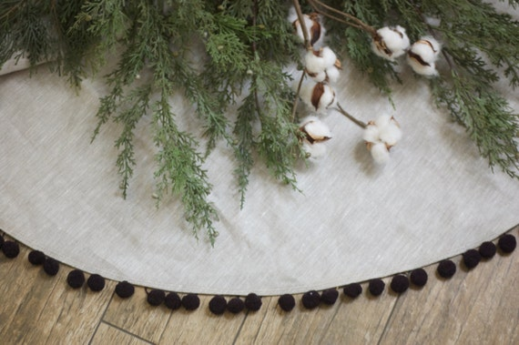 Christmas Tree Skirt Natural Linen Black Pom By