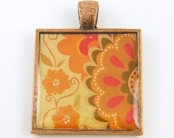 Orange Pendant - Fall Color Pendant Rust Brown Red Flower Pendant Floral Pattern Jewelry Charm