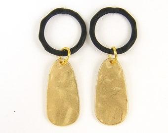 Black Gold Earrings Hammered Texture Matte Teardrop Dangle Post Earrings