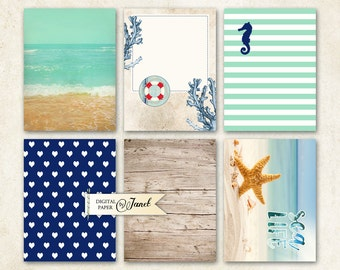 Journal Cards - Sea LIFE - Project Life - digital collage sheet - set of 6 cards - Printable Download