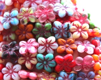 12 Czech Mixed Color Frosted Picasso Flower Beads