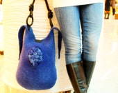 unique Felted bag - Hand felted bag - poppy -  jeans - purse pouch -  freedom - wool felted - OOAK bag