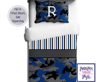 Personalized Camo Duvet or Comforter - Kids Camouflage Personalized Bedding - Camo Crib Bedding - Boys Hunting Name Duvet - Custom Kids Bed