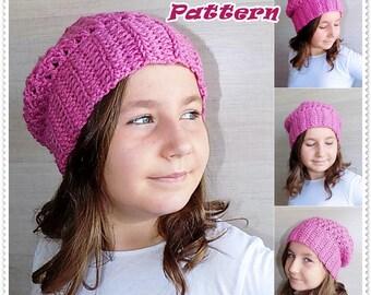 Crochet pattern, crochet slouchy hat pattern, crochet hat pattern, child, teen, adult sizes