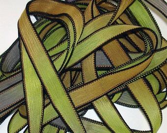 Egyptian hand dyed 42 inch silk ribbons// Silk Wrist Wrap Ribbon//Silk wrap yoga bracelet ribbons//By Color Kissed Silk LLC
