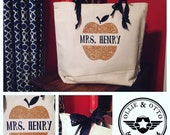 Personalized Teacher Gift Tote with gold glitter apple and name