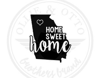 ANY STATE & CITY - Georgia ga Home Sweet Home Vinyl Decal - customizable