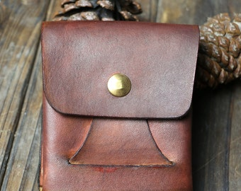 vegetable leather wallet,handmade,hand dyed,cooper buckle,red /brown 2 colors