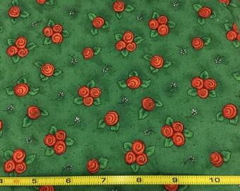 Fabric Destash By The Yard Quilters Cotton Bright Green with Orange Flower Clusters Print