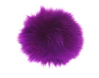 Detachable purple Fox fur pom