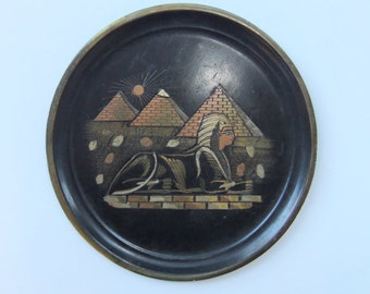 Vintage Copper Carving Plate w/ Pyramid & Sphinx Figures